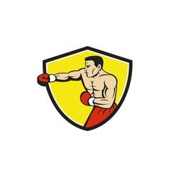 Boxer Jabbing Punching Crest Cartoon vector image vector image