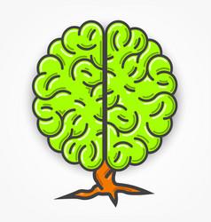 Cartoon green brain sign clean vector