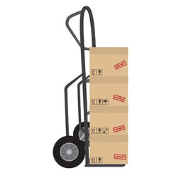 Hand truck with boxes vector