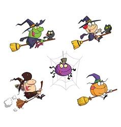 Happy Halloween Cartoon Characters vector image vector image