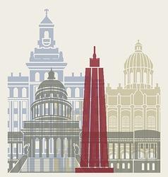 Havana skyline poster vector image vector image