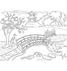 nature of japan coloring book for children cartoon vector image