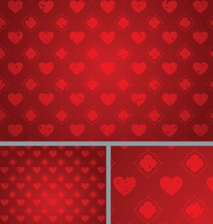 Red Vintage Hearts Distressed seamless Background vector image
