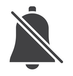 silent bell glyph icon web and mobile alarm off vector image