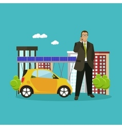 Smart city concept in flat vector image vector image