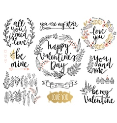 Valentines Day Lettering Design Set vector image