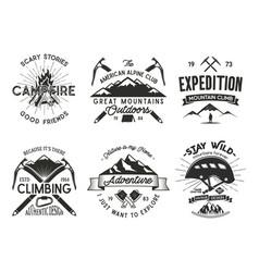 vintage mountaineering badges set climbing logo vector image vector image