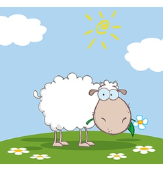 White Sheep Cartoon Character Eating A Flower vector image vector image