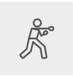 Boxing man punch thin line icon vector image