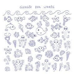 Doodle sea world vector image vector image