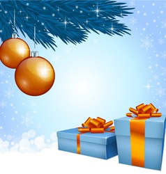 Gift boxes and Christmas decoration vector image
