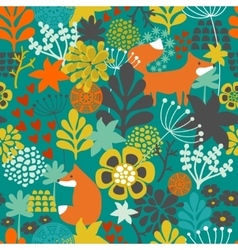 Seamless pattern with fox in the flowers of the vector image vector image