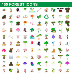 100 forest icons set cartoon style vector image vector image