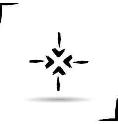 4 arrows aiming to center glyph icon vector