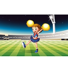 A cheerer performing at the stadium vector image vector image