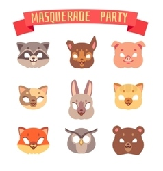 Animals party masks set vector image