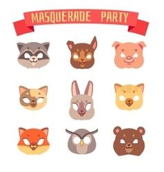 Animals party masks set vector