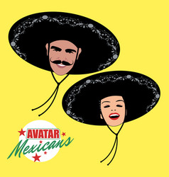 avatars of man with mustache and pretty woman vector image