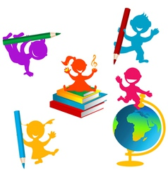 Back to school background with children and books vector image