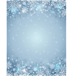 background with frame of snowflakes and stars vector image