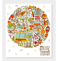 Be active and clever background vector image