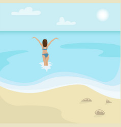 beach landscape girl in a swimsuit is in the sea vector image