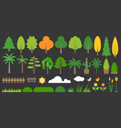 big set of graphic info element of forest vector image