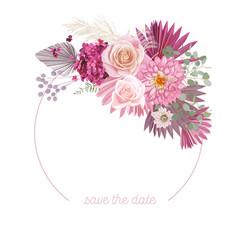 boho floral wedding frame watercolor rose vector image