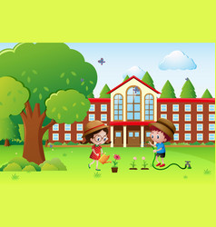 boy and girl watering plants at school vector image