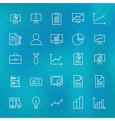 Business Chart Graph and Finance Line Icons Set vector