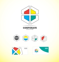 Business corporate polygon badge logo vector image