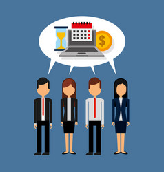 business people standing with speech bubble and vector image