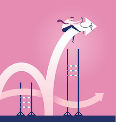 Businessman rodeo arrow jumping over hurdle vector