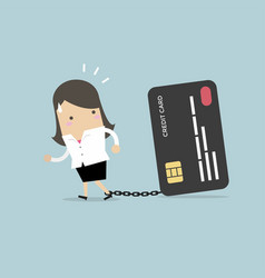 businesswoman with chained to bank credit card vector image