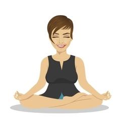 Calm businesswoman meditating in lotus pose vector