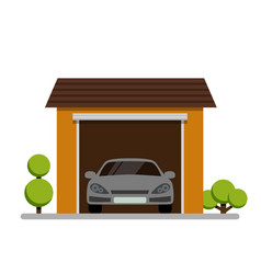 car garage with plant icon on white background vector image