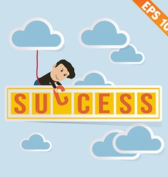 Cartoon Businessman with success billboard vector