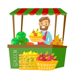 Caucasian street seller with fruits and vegetables vector