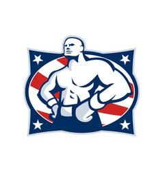 Champion American Boxer Akimbo Retro vector