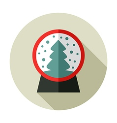 Christmas snow globe with a tree inside flat icon vector