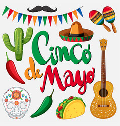 Cinco de mayo card template with mexican hat and vector