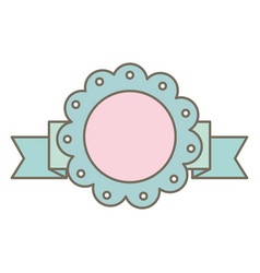circular lace decorative with ribbon frame vector image