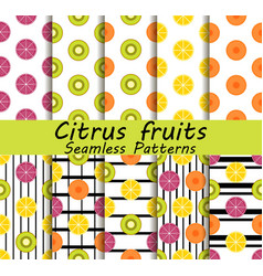 Citrus fruits seamless pattern set orange kiwi vector