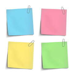 Color sticky notes attached by metallic clips vector