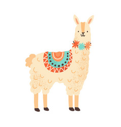 cute childish lama character adorable funny vector image