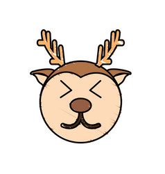 Cute deer drawing animal vector