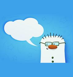 cute snownam with green eyeglasses vector image