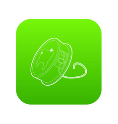 Dental floss icon green vector