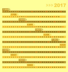 Design 12 months of 2017 calendar template vector image