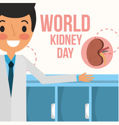 Doctor professional world kidney day campaign vector